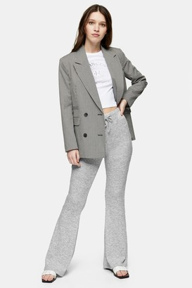Topshop Womens Grey Ribbed Flared Trousers - Grey