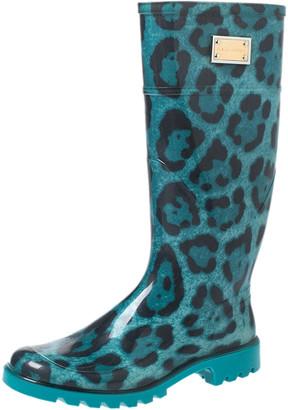 Dolce & Gabbana Teal/Black Leopard Print PVC Knee High Rain Boots Size 36