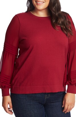 CeCe Mix Media Puff Sleeve Pullover