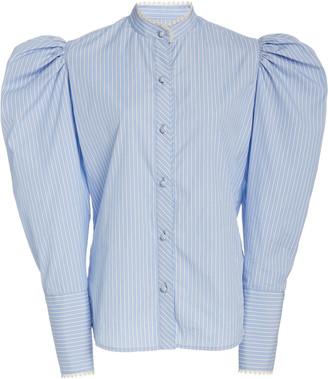 Rodarte Poplin Puff-Sleeve Top
