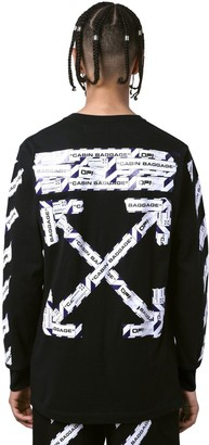 Off-White Off White AIRPORT TAPE PRINT L/S JERSEY T-SHIRT