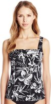 Caribbean Joe Women's Peaceful Plumeria Pleated Front Tankini