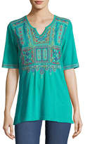 Johnny Was Annika Boho Knit Tunic w/ Embroidery, Plus Size