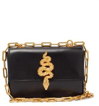 Valentino Maison Snake Leather Shoulder Bag - Black