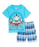 Children's Apparel Network Blue Thomas 'Steam Team' Tee & Plaid Shorts - Infant