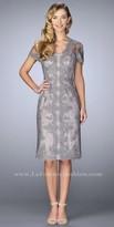La Femme Sheer Short Sleeve Scalloped Lace Knee Length Dress