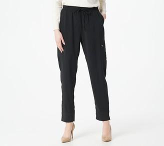 Susan Graver Regular Stretch Satin-Back Crepe Pull-On Ankle Pants