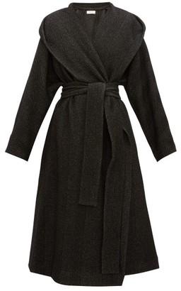 The Row Audree Cashmere-herringbone Coat - Womens - Dark Grey