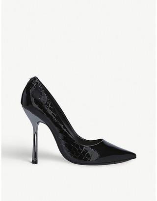 Carvela Achieve croc-embossed leather court shoes
