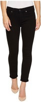7 For All Mankind The Skinny Crop Roll w/ Squiggle in Black Twill Women's Jeans