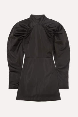 Rotate by Birger Christensen Gathered Satin Mini Dress - Black