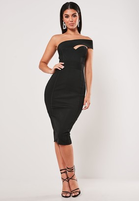 Missguided Premium Black Bandage One Shoulder Ribbed Midi Dress
