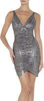 Herve Leger Ari Woodgrain Foil Print Dress