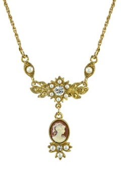 "Downton Abbey Gold-Tone Oval Cameo Drop with Crystal Necklace 16"" Adjustable"