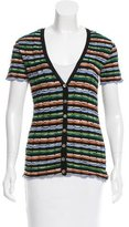 M Missoni Short Sleeve Striped Cardigan