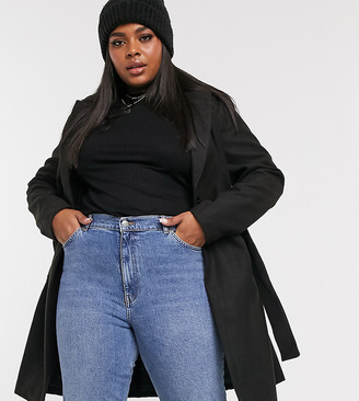 New Look Plus New Look Curve belted formal coat in black