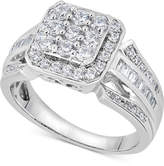 Macy's Diamond Square Cluster Ring (1 ct. t.w.) in 14k White Gold