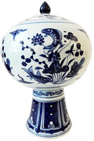One Kings Lane Vintage Porcelain Chinoiserie Tea Canister - b & w