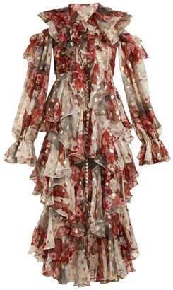 Alexander McQueen Ruffle-rimmed Fil Coupe Jacquard Dress - Womens - Ivory Multi