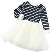 Girl Dress,Haoricu New Toddler Girl Stripe Mesh Splice Long Sleeve Dress For Kids (6T, White)