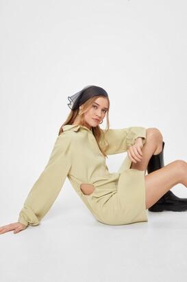 Nasty Gal Womens Lights Cut-Out Mini Shirt Dress - Sage