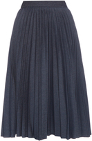 MSGM Pleated denim midi skirt
