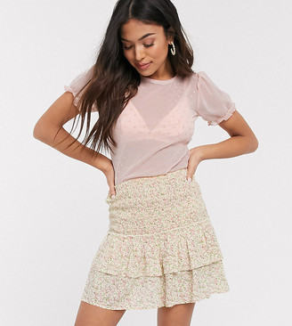 New Look Petite heart print mesh tee in pale pink