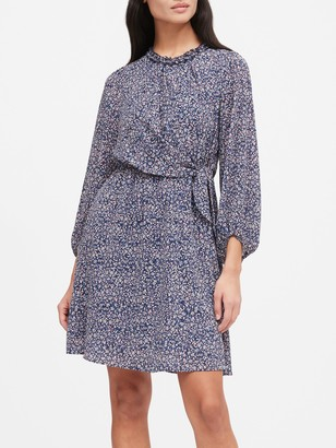 Banana Republic Print Tie-Waist Mini Dress