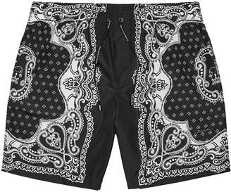 Dolce & Gabbana Black bandana-print shell shorts