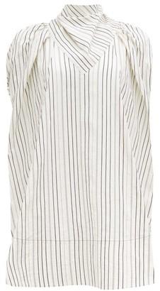 Ssōne Ssone - Apex Bow-back Striped Cotton-blend Blouse - White Multi