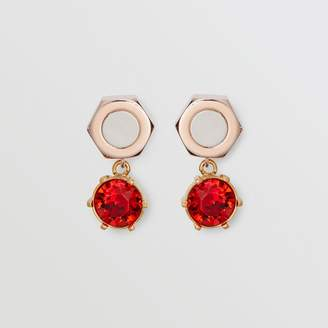 Burberry Crystal Charm Rose Gold-plated Nut and Bolt Earrings