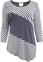 Dreamer P Plus Size Women's Asymmetrical Striped Keyhole Back Knit T-Shirt Fashion Top Navy (16.009)