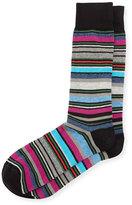 Neiman Marcus Multicolor Variegated-Stripe Socks, Black