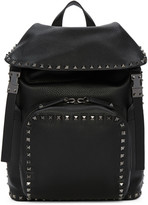 Valentino Black Leather Rockstud Backpack