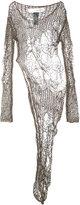 Isabel Benenato open knit asymmetric dress - women - Cotton - 40