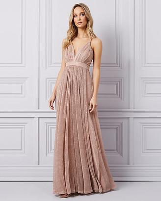 Le Château Glitter Mesh Deep-V Gown