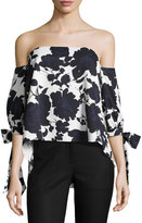 Sachin + Babi Elena Off-the-Shoulder Floral Stretch Ottoman Top, Blue/White