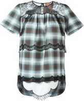 No.21 lace insert checked blouse - women - Cotton/Polyamide/Viscose - 42