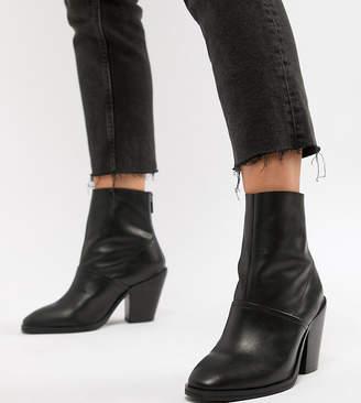 Asos Design DESIGN Wide Fit Elexis leather ankle sock boots-Black