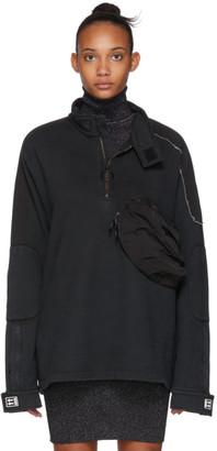 Off-White Black Parachute Moto Half-Zip Sweater