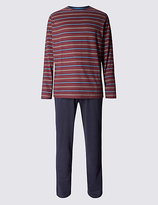M&s Collection Pure Cotton Jersey Striped Pyjamas