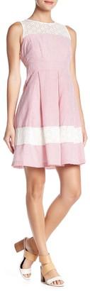 Nina Leonard Lace Striped Seersucker Fit & Flare Dress
