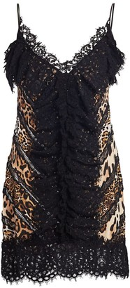 Amen Lace Animal-Print Silk Slip Dress