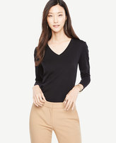 Ann Taylor Pima Cotton V-Neck Long Sleeve Tee