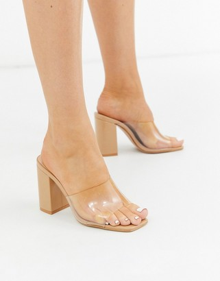 clear Simmi Shoes Simmi London asymmetric detail mules