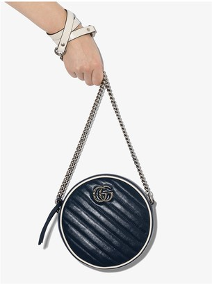 Gucci blue GG Marmont round leather quilted mini bag