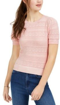 Hooked Up by IOT Juniors' Pointelle-Knit Pullover Sweater