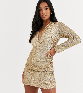 John Zack Petite sequin plunge front ruched mini dress in gold