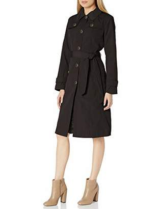London Fog Women's Single Breasted Belted Trench with Hood