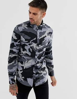 Armani Exchange slim fit camo shirt in grey
